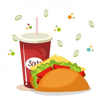 Taco and soda fast food