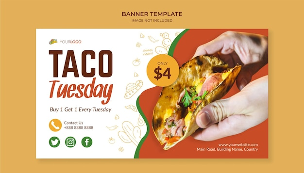 Taco tuesday banner template for mexican food restaurant