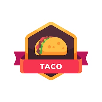 Taco with salad and tomatoes. mexican fast food label