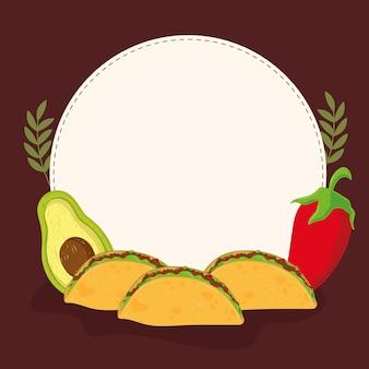 Tacos avocado and chili pepper