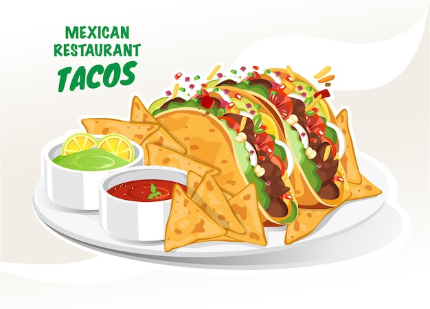 Tacos in corn tortilla, nachos in a plate with salsa sauce vector illustration