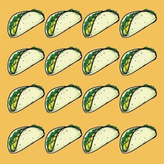 Tacos fast food design pattern seamless background texture
