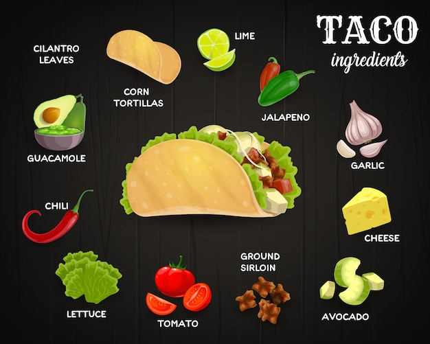 Tacos ingredients, mexican fast food