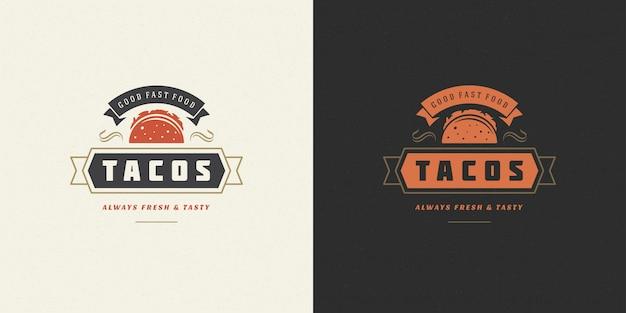 Силуэт тако с логотипом тако, подходит для меню ресторана и значка кафе