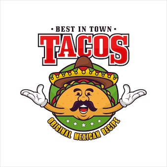 タコスメキシコのマスコットロゴ