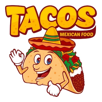 Tacos mexican food logo template, with funny character vector