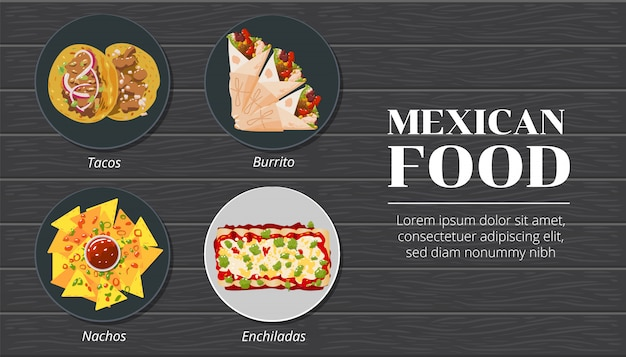 Tacos, nachos, burrito, enchiladas mexican food vector set collection graphic