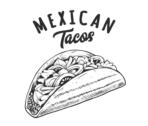 Tacos retro emblem. logo template with black and white letters and tacos sketch. eps10 vector illustration.