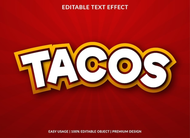 Tacos text effect template design premium style