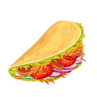 고기와 야채가 들어간 타코
