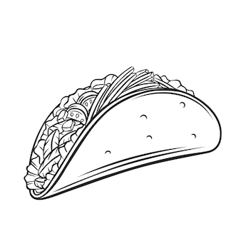 Tacos with meat and vegetable outline