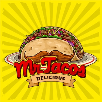 Tacos with mustache in the plate for street food fast food and junk food restaurant logo