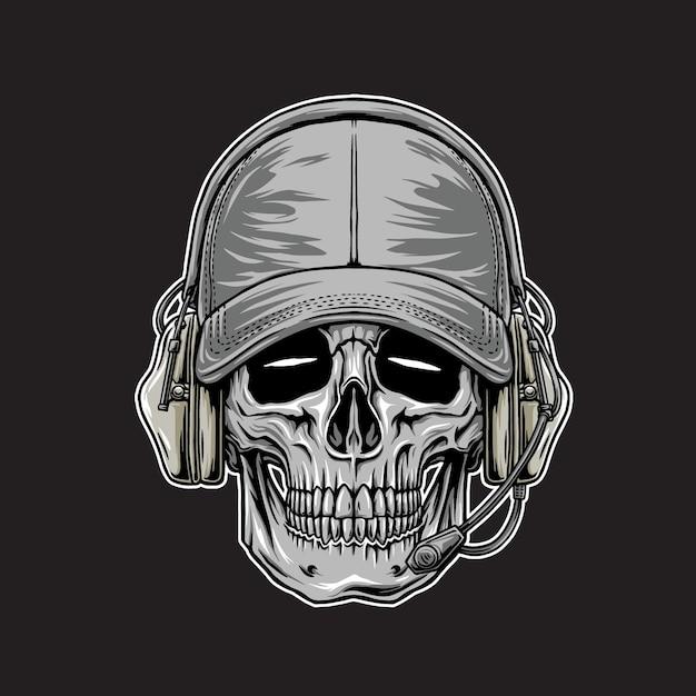 어두운 배경에서 전술 머리 두개골 벡터