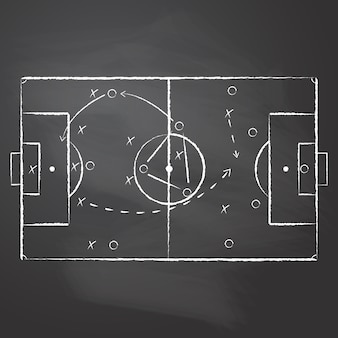 The tactical scheme football game drawn with the chalk on the black rubbed chalkboard. the soccer tactical scheme with two teams players and strategy arrows.