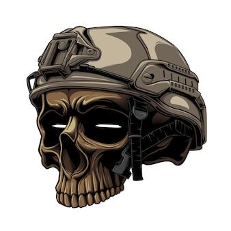 흰색 begrouynd의 전술 전사 두개골과 군사 헬멧