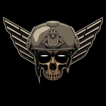 헬멧과 뒷면에 날개 요소가 있는 해골 물체가 있는 전술 전사