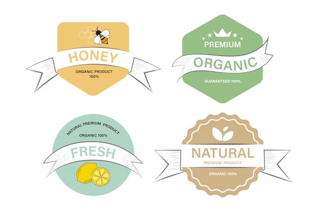 Органическая этикетка и продукт с натуральной этикеткой. tag and sticker farm свежий логотип веганской еды гарантирован.