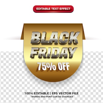 Tag black friday with cutout gold 3d text effect on transparent background