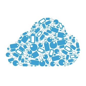 태그 클라우드 개념. 작은 꼬리표로 형성된 구름 모양.