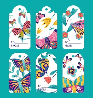 Tag design with butterfly, label set, vector illustration. floral vintage graphic collection, spring sale element with drawn style. promotion sticker with insect, flower and leaves.