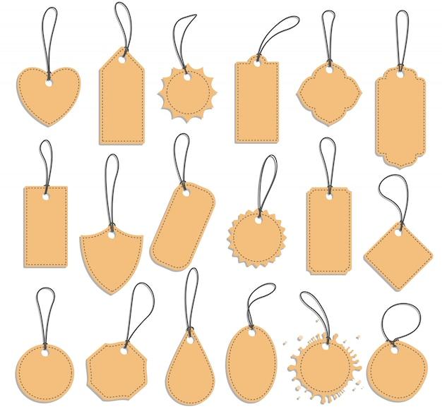 Tag label set, blank vintage paper tags