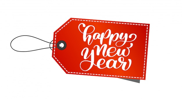 Tag or label with happy new year hand-lettering text