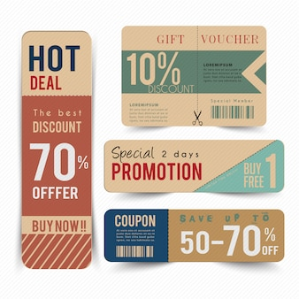 Tag price offer and promotion voucher.
