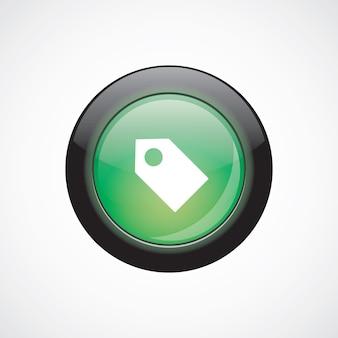タグサインアイコン緑色の光沢のあるボタン。 uiウェブサイトボタン