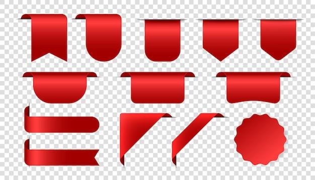 タグステッカー形状新規または販売バッジラベル製品赤コーナーベクトルリボンとバナー高級赤..。