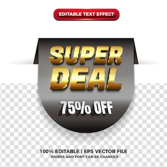 Tag super sale with cutout gold 3d text effect on transparent background