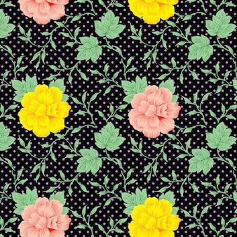 Tagetes patula flowers pattern on black background