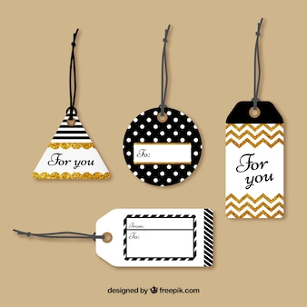 Tags collection with glitter
