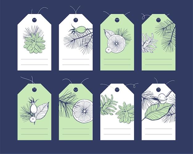手描きの花の要素を持つタグコレクション