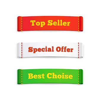 Tags labels or commercial banners promoting top seller  special offer and best choice products to buy  on white