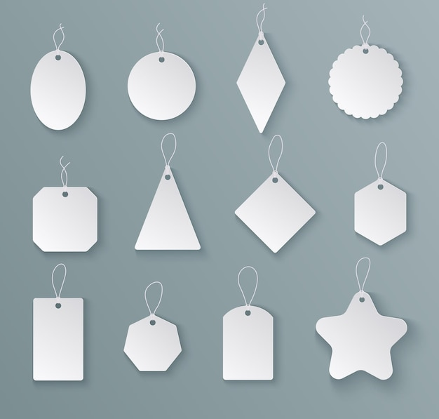 Tags labels. white paper empty price tag with string in different shapes. mockups for christmas gifts isolated vector templates. hang blank tag for sale price, gift shape label illustration