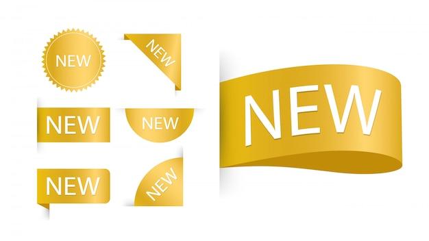 タグが設定されました。バッジと「新しい」の碑文とラベル。