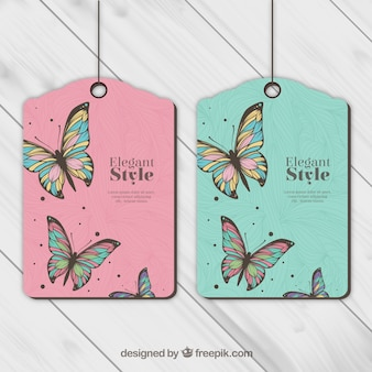 Tags with butterflies