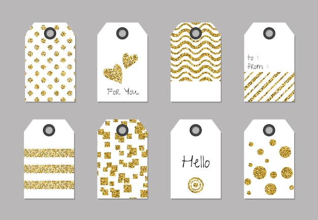 Tags with glitter texture set