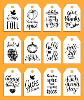 Теги с надписями и иллюстрациями на день благодарения