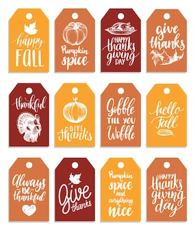 Tags with lettering and illustrations for thanksgiving day.  drawn and handwritten labels.