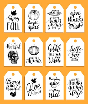 Tags with lettering and illustrations for thanksgiving day