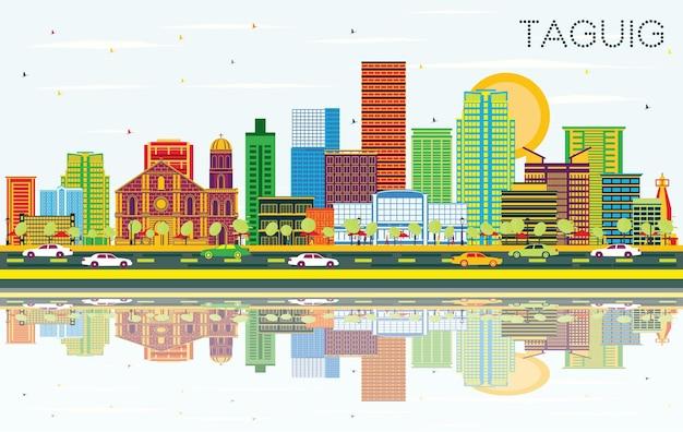 色の建物、青い空と反射とタギッグフィリピンの街のスカイライン。ベクトルイラスト。近代建築とビジネス旅行と観光の概念。ランドマークのあるタギッグの街並み。