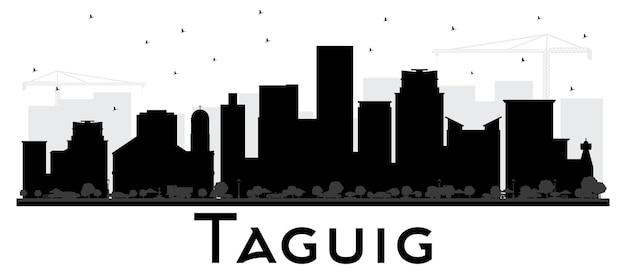 タギッグフィリピンスカイライン黒と白のシルエット。ベクトルイラスト。観光プレゼンテーション、プラカードのシンプルなフラットコンセプト。出張の概念。ランドマークのあるタギッグの街並み。
