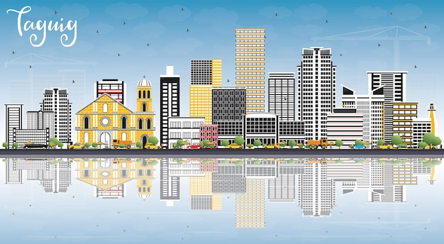 색상 건물, 푸른 하늘, 반사와 taguig 필리핀 스카이 라인.