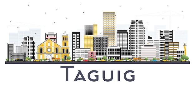 白い背景で隔離された色の建物を持つタグイグフィリピンのスカイライン。ベクトルイラスト。近代建築とビジネス旅行と観光の概念。
