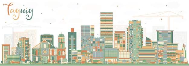 色の建物とタギッグフィリピンのスカイライン。ベクトルイラスト。近代建築とビジネス旅行と観光の概念。