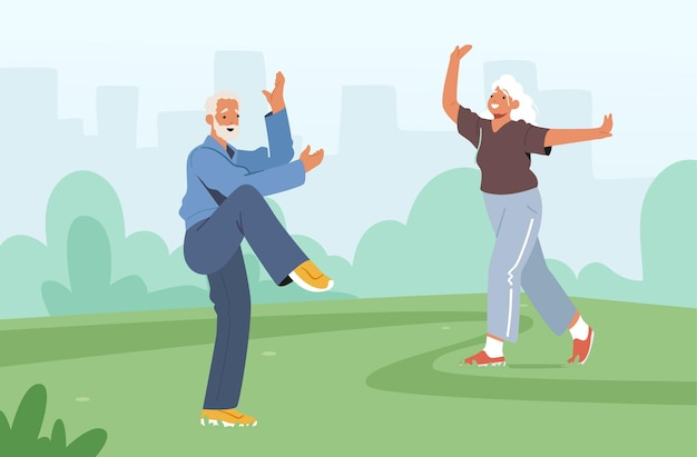 Tai chi group classes for elderly people. senior characters exercising outdoors, healthy lifestyle, body flexibility training. pensioners morning workout at city park. cartoon vector illustration