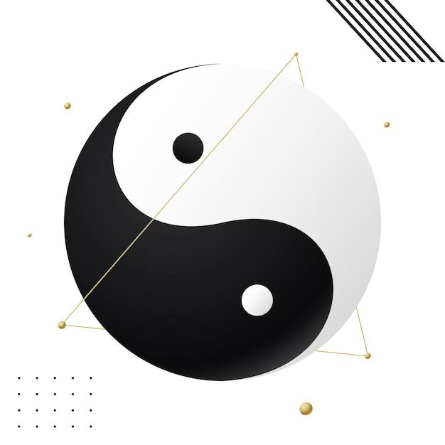 Taijitu symbol black and white yin yang on a white background