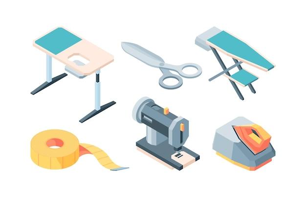 テーラーアクセサリーアイソメトリックセット。設備縫製ファッショナブルでスタイリッシュな服アイロン台カッティングテーブルミシンセンチメートルはさみアイロンスチーマー。