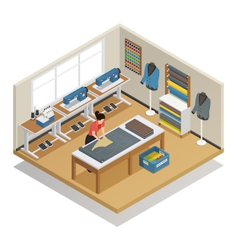 Tailor atelier isometric composition
